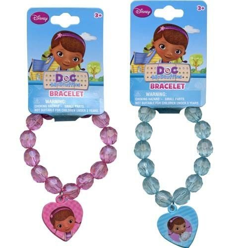 Disney Doc McStuffins Faceted Beaded Girls Bracelet with Heart Charm - Assorted Styles by Disney