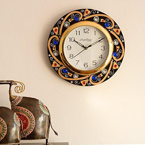 eCraftIndia Crystal Studded Decorative Wooden Wall Clock (30 cm x 2.5 cm x 30 cm)