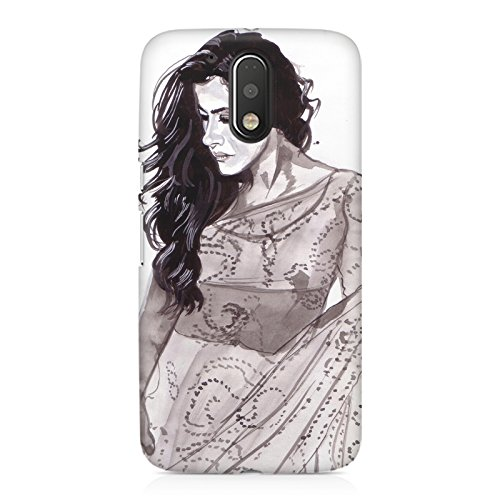 Kajol in saree sketch design Moto G4 Play all side printed hard...