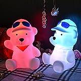 PRECORN Nachtlicht Bär LED Tischlampe Kinderzimmer Nachttischlampe Leuchtfigur mit RGB Farbwechsel