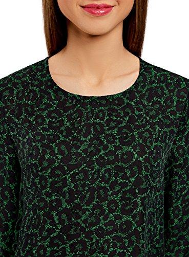 oodji Ultra Damen Lässige Bluse mit TropfenAusschnitt Am Rücken Grün 6D29A