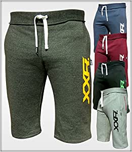 Mens Fleece Shorts Jogging Bottom Joggers MMA Boxing Gym Fitness Sweat Shorts Casual Home Wear (Dark-Blue, Small ( 30-32