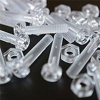 Paquete de 20 tornillos y tuercas, Arandelas, transparentes, de plástico acrílico. M4 x 20mm