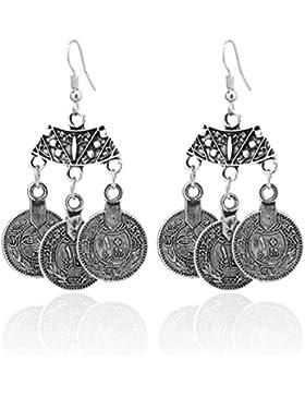 2LIVEfor Lange Ohrringe Ethno Münzen verziert Ohrringe Bohemian Vintage Ohrringe lang Hängend Antik Silber Ohrringe...