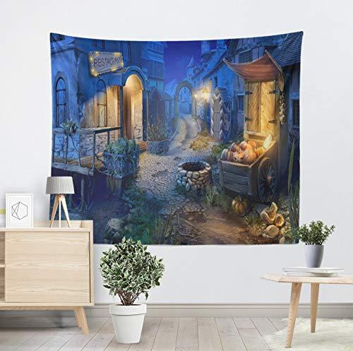 Qhrdp Wandteppiche Kürbis Halloween Tapisserie Blau Charmante Stadt Wandbehang Wandteppiche Halloween Party Decor Home Wohnzimmer Wand Handtuch 130X150Cm