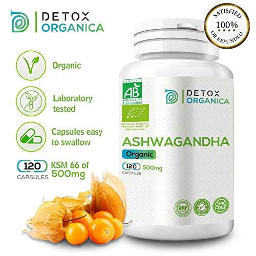 D O  Organic Ashwagandha Capsules, 120 caps KSM 66 of 500mg, Herbal  Ayurveda Supplement Suitable for Vegan, Non GMO, Lacto Free, Gluten Free