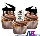 Keep Calm and Carry On et Piano Player/pianistes Silhouette ? comestibles pour cupcakes col montant (Lot de 12)