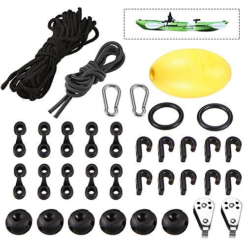 Festnight Kajak Kanu Anker Trolley Kit System mit Pulleys Pad Augen Seil Float -