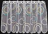 Scheibengardine Kringel 60 cm hoch | Breite der Gardine durch gekaufte Menge in 11 cm Schritten wählbar (Anfertigung nach Maß) | weiß mit grün/gelb | Vorhang Küche Wohnzimmer