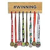 Pushka Home Holz # preisgekrönt Medaille Bügel-Halter Display Achievement Haken Brett Schild Schiene regal. aus massiv Europäisch Eiche Wand Geschenk für Marathon Läufer für sportliches person. Cooles