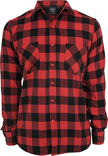 Urban Classics Bekleidung Checked Flanell Shirt  Uomo Multicolore (Black/Red)