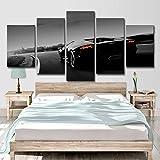 FBHLIN Impression sur Toile 5 Panneaux Peinture Murale Art Décoration Gris Modèle De Voiture De Sport Impression HD Modulaire Image Art Home Décoration, 10X15 / 20 / 25Inch
