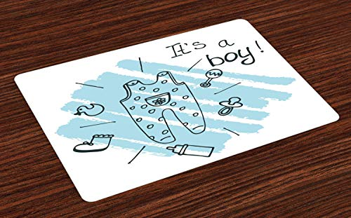 offenbaren Platzmatten, Es ist Junge Zitat Kleidung Elternschaft Thema Baby Pinsel Stil Illustration, Tiscjdeco aus Farbfesten Stoff für das Esszimmer und Küch, Türkis ()