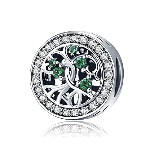 Mijn bedels charm in argento albero della vita con zirconia verde
