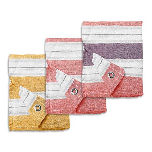 BLANC CERISE Set de Trois torchons - 100% Lin - Rayures tissées colorées 47x70 cm