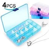 Infreecs Schmuckschatulle Werkzeugcontainer 4 Packungen(4 Farben) Plastik Aufbewahrungsbox mit 15 Fächern Sortierbox