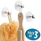 mDesign 3er-Set Saughaken – Handtuchhalter aus Metall mit starken Saugnäpfen – perfekt für die Dusche – Wandhaken für Waschlappen, Bürste und andere Duschutensilien – silber/durchsichtig