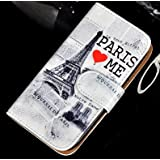Etui à Rabat Lateral Pour Samsung Galaxy S4 i9500 i9505 - Modèle Rétro Paris Loves Me