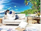 Yosot 3D Tapete Natur Balkon Strand Landschaft 3D Tapete Moderne Für Wohnzimmer Wandmalereien Non Woven Tapeten-300Cmx210Cm