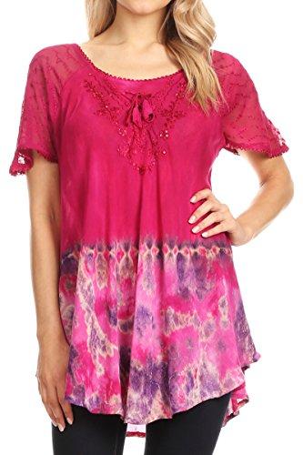Sakkas 17783 - Clarice Petite Raglan Lace Up Tie Färbung Bluse mit Stickerei und Sequins - Fuschia - OSP (Shirt Fuschia Dress)