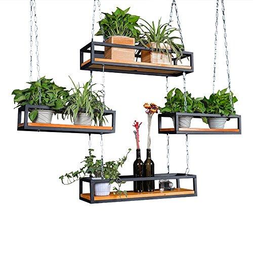 Retro-Decken-Art Blumen-Stand-Eisen-Kunst-Wand-hängendes Wand-Regal verschobene Decken-Lagerungs-Regal-Innenbalkon-dekoratives Blumen-Regal-kommerzielle Wein-Gestelle ( größe : 80×25×15cm ) - Eisen Kunst