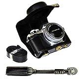 First2savvv XJPT-EM10II-A01S01 Custodia Fondina in pelle sintetica per macchine fotografiche reflex compatibile con Olympus OM-D E-M10 Mark 2 EM10 Mark II con obiettivo 14-42mm nero + cinturino della fotocamera