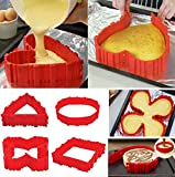 ORPIO-LABLE-4-Pcs-Nonstick-Microwave-Oven-Silicone-Baking-Cake-Mould-Tray-Red