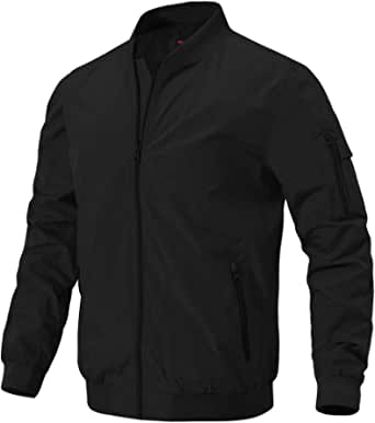donhobo Men's Spring Autumn Casual Jackets,Lightweight Bomber Jacket Outdoor Sports Thin Baseball Coats with Zipper Pockets