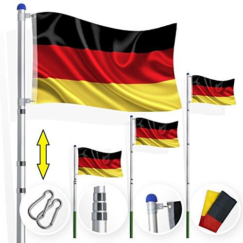 Kesser® Teleskop Fahnenmast 6,35m Flaggenmast Mast Flagge und Deutschlandfahne inkl Bodenhülse , Witterungsbeständigem Aluminium