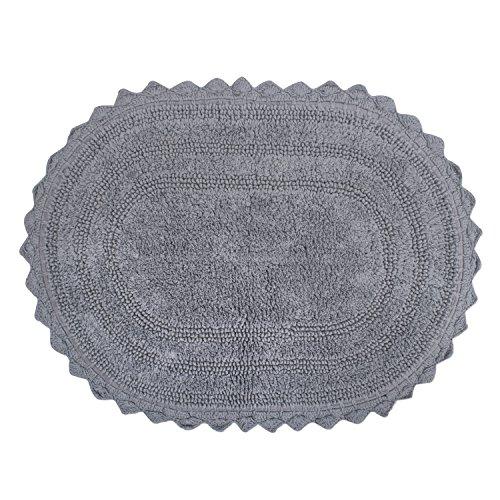 DII OCEANIQUE Maschinenwaschbar, 100% gewebte Baumwolle rund Bad Teppich Weich und Saugfähig, nahe Vanity, Badewanne oder Dusche, 71,1cm Dia, Mauve, grau, 21x34 Oval