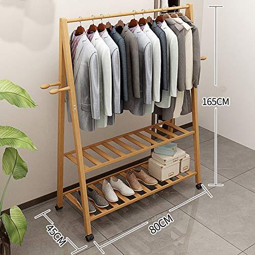 Kleiderständer kleidung,Massivholz Multi-purpose Mit riemenscheibe Lagerung-veranstalter mit haken Garderobenständer,Schlafzimmer Wohnzimmer Lagerung-schuh-tischstativ-C 80x45x165cm(31x18x65inch)