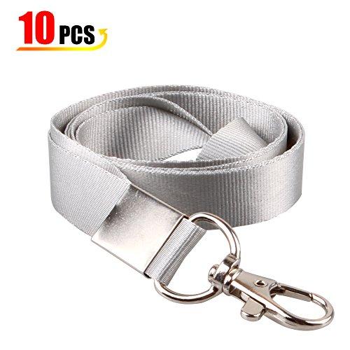 er Packs Polyester-Halsbänder mit Drehhaken für ID-Karten Badges ID Name Tags Badges Halter und andere tragbare Sachen und Schlüssel-grau ()