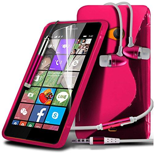 ONX3® (Pink) Microsoft Lumia 540 Dual Sim Hülle Abdeckung Cover Case schutzhülle Tasche Custom Made Fall nach Maß S zeichnen Wellen Gel Kasten Haut Abdeckung mit LCD Display Schutzfolie, Poliertuch, Aluminium In Ear Ohrhörer Stereo Ohrhörer Hands Free & Mini Retractable Stylus Pen