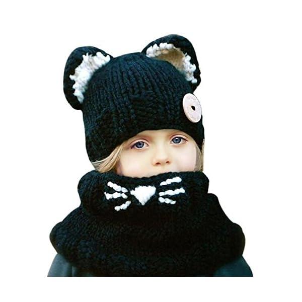Sunroyal Unicorn Hat, Girls Cartoon Scarf Pocket Winter Warm cloak Knitted Hemming Cap Christmas Fashional Hood…