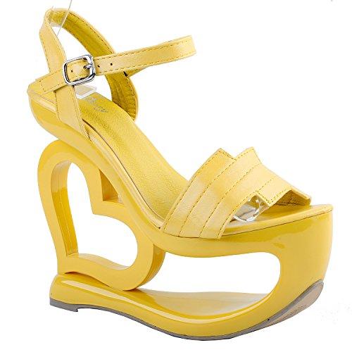 Visualizza storia Cuore con il cinturino giallo elegante tacco zeppa da Damigella Matrimonio, LF40210 Giallo