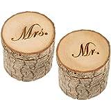 2 PCS Wooden Printed MR MRS Rustic Wedding Box Engagement Ring Box Wedding Keepsake Wedding Valentines Wooden Ring Bearer Box Vintage Jewelry Box Ring Holder