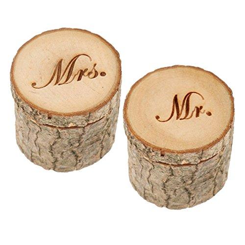 Healifty 2pcs Hochzeit Ehering Box MR MRS rustikal Schmuck Ring Box aus Holz (Holz Oberflächen, Einschließlich)