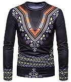 WHATLEES Herren Langarm 3D Print Dashiki T-Shirt mit African Druckmuster BA0121-black-M