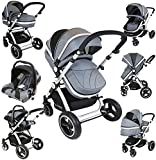 i-Safe System - Grey Trio Travel System Pram & Luxury Stroller 3 in 1 Complete With Car Seat