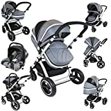 i-Safe System - Grey Trio Travel System Pram & Luxury Stroller 3 in