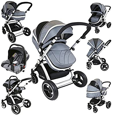 i-Safe System - Grey Trio Travel System Pram & Luxury Stroller 3 in 1 Complete with Car Seat iSafe