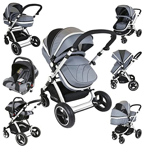 i-Safe System – Grey Trio Travel System Pram & Luxury Stroller 3 in 1 Complete With Car Seat 51ISpFQ3eOL