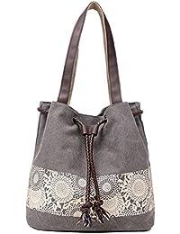 Vox Damen Vintage Schultertasche Canvas Henkeltasche Handtasche umhängetasche shopper Beuteltasche mit Kordelzug