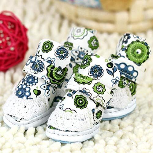 AMURAO Winter Frühling Herbst wasserdichte Haustier Schuhe rutschfeste Hundestiefel Print Puppy Poodle Soft Foot Set (Rock Denim Wildleder)