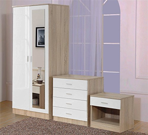 Ossotto Mirrored High Gloss 3 Piece Bedroom Furniture Set - Soft Close Wardrobe, 4 Drawer Chest, Bedside Cabinet (White on Oak)