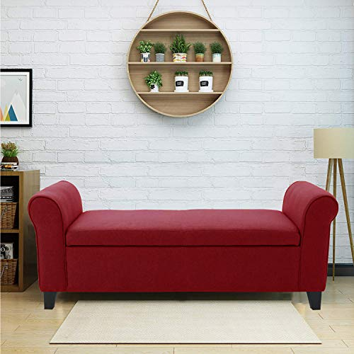 Aart Store Fabric Wooden Bench Sofa for Home & Living Red Color