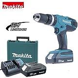 Makita - HP457DX100 Artikelnr. 4005 Akku-Bohrschrauber Schlagbohrer 18 V mit Ersatzbatterie und 74 Zubehörartikeln