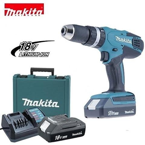 Makita - HP457DX100 Artikelnr. 4005 Akku-Bohrschrauber Schlagbohrer 18 V mit Ersatzbatterie und 74 (Makita Kupplung)