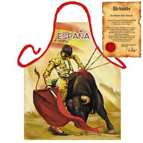 (Spanisch Kochen - Tapas Antipasti mit Motiv Schürze: Torrero - Mediterrane Küche one Size Fb bunt mit Geschenk-Urkunde : ))