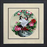 Silk Art 100% Handgefertigt Stickerei gerahmt Kiefer Bäume und Segen Kraniche Malerei Geschenk Oriental asiatischen Art Wand D ¨ ¦ cor Artwork silkart025